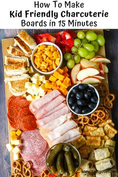 Kid Friendly Charcuterie Board Kid Friendly Charcuterie Boards are simple party finger foods with virtually no cooking involved. Kid friendly charcuterie boards take about 15 minutes to put together. A fantastic Super Bowl party food idea! Charcuterie Recipes, Charcuterie And Cheese Board, Charcuterie Platter, Cheese Boards, Charcuterie Lunch, Cheese Platter Board, Party Food Platters, Party Food Buffet, Crudite