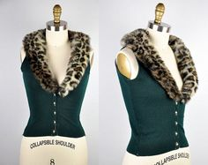 SALE Vintage Leopard Sweater Faux Fur Collar & Dark Green Wool