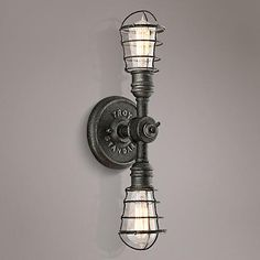 """Conduit 19"""" High Old Silver Wall Sconce"""