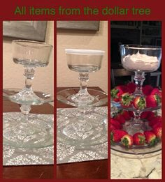 """Made this tiered stand from plates and candle sticks from the dollar tree! I used a glue called """"Goop"""" from Lowes to glue them together. great for chocolate covered strawberries, or dip with dippable snacks Dollar Tree Decor, Dollar Tree Crafts, Decoration Table, Table Centerpieces, Dollar Tree Centerpieces, Church Decorations, Wedding Decorations, Tiered Stand, Diy Table"""