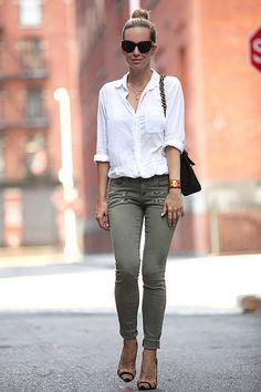 Classic: white button down, olive bottoms, animal print