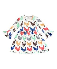 Take a look at this White & Blue Chicken A-Line Dress - Infant, Toddler & Girls today!