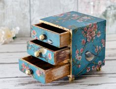 Mini Chest of Drawers Jewellery Box Trinket by TrinketDrawers