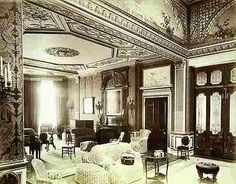1886-High empire style in the saloon Worth Park Sussex lost c1968