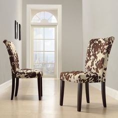 Faux Cowhide Chairs