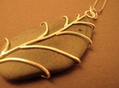 Leaf River Rock Necklace Sterling by LauraGuptillJewelry on Etsy