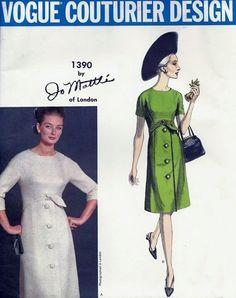 1960s Stylish Jo Mattli Dress Pattern VOGUE COUTURIER DESIGN 1390 Elegant Day or After 5 Dress Bust 32 Vintage Sewing Pattern