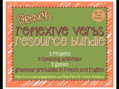 Are you looking for a complete resource to help you teach, reinforce, and assess French reflexive verbs? This BUNDLE is full of practical and thorough notes and exercises, fun speaking activities, 2 games, and 2 projects that your students will love!