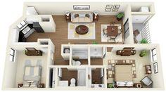 2bed, 2bath - 3D Floor Plan | www.coralclubapts.com/ | Flickr