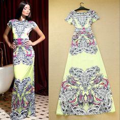 2014 spring summer newest runway fashion elegant water wave print high streetwear maxi dress long casual dress