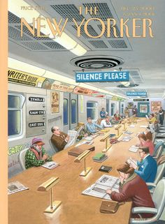 """The New Yorker - Monday, December 25, 2000 - Issue # 3918 - Vol. 76 - N° 40 - « The Fiction Issue » - Cover """"Reading and Riding"""" by Bruce McCall"""
