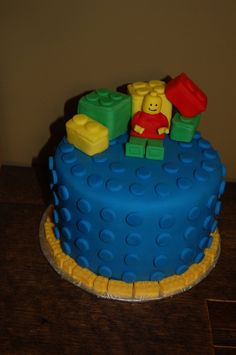 Lego Birthday Cake inspired by Kittenbaby and jagvipers lego cakes. WASC, fondant lego, RCT blocks, and chocolate lego border