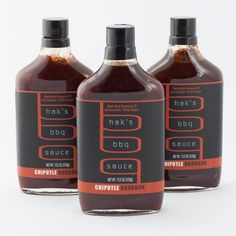 Hak's Chipotle Bourbon BBQ Sauce - So good on pulled pork! I get it at Met Market! Coffee Bottle, Whiskey Bottle, Spotty Dog, Bar B Que, Bbq Rub, Grilled Pork, Cold Brew, Hot Sauce