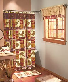 """Add a little """"giddyup"""" to your bathroom with the Go West Bathroom Collection. Each coordinated item features a fun cowboy motif. The Shower Curtain (72"""" x 72"""") and Window Valance (60""""W x 18""""L) both have patterns of star badges, horses, cowboy boots and o"""
