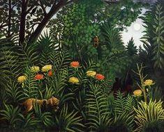 Henri Julien-Félix Rousseau - Forêt vierge avec des tigres et des chasseurs