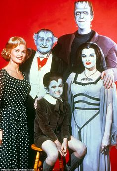 Butch Patrick (seated) is pictured as Eddie with fellow cast members from 'The Munsters'. Munsters Car, Munsters Tv Show, Munsters House, Lily Munster, Herman Munster, La Familia Munster, Mejores Series Tv, Yvonne De Carlo, Classic Horror Movies