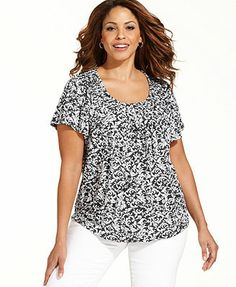 Style&co. Plus Size Short-Sleeve Printed Pleated Top smaller prints very flattering
