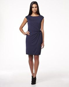 Because I dresses - Faux-wrap sleeveless jersey dress Online Dress Shopping, Work Attire, Dresses For Work, Clothes, Shoes, Fashion, Budget, Outfits, Moda