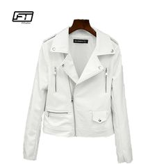 >> Click to Buy << Fitaylor 2017 New Spring Autumn Women Biker Leather Jacket Soft PU Punk Outwear Casual Motor Faux Leather White Jacket #Affiliate