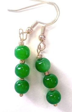 Green Jade Gemstone Dangling Earrings by GracefulServices on Etsy