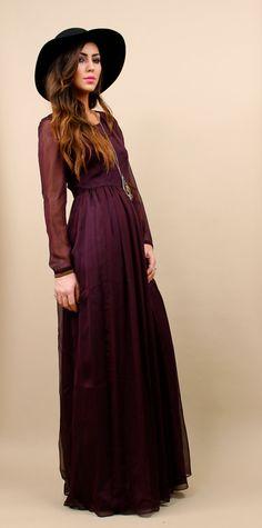 70s Vtg MAXI Chiffon Dress / Gypsy Boho Witch / by nanometer, $115.00