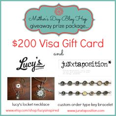 Visa Gift Card Giveaway: Prize Package includes $200 visa card and Jewelry pieces fron Lucy's Lockets and Junxtaposition!