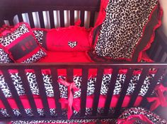 Cheetah and Red Crib Bedding by BabyKaysCloset1 on Etsy, $300.00