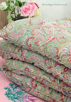 Vintage Home Shop - Plump and Pretty! 1940s Green Paisley Feather Eiderdown: www.vintage-home.co.uk