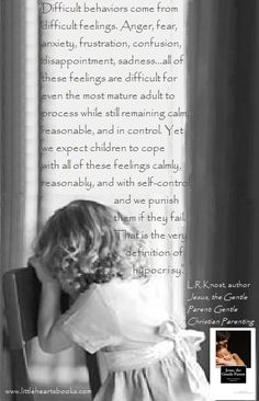 """""""Difficult behaviors come from difficult feelings. Anger, fear, anxiety, frustration, disappointment, confusion, sadness...all of these feelings are difficult for even the most mature adult to process while still remaining calm, reasonable, and in control. Yet we expect children to cope with all of these feelings calmly, reasonably, and with self-control, and we punish them if they fail. That is the very definition of hypocrisy."""" L.R.Knost, www.littleheartsbooks.com"""