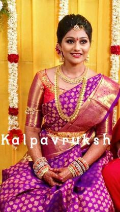 Simple and Elegant South Indian Bride - South Indian bride on budget Wedding Saree Blouse Designs, Pattu Saree Blouse Designs, South Indian Bride, Indian Bridal, Wedding Silk Saree, Bridal Sarees, Blouse Models, Indiana, Elegant Saree