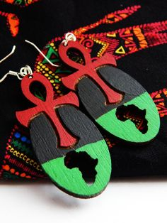 Ankh Earrings Africa Jewelry Afrocentric Earring Ankh African Jewelry Red Black Green Earrings African Jewelry Egyptian RBG clip on earrings by TheBlackerTheBerry