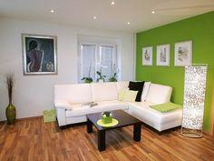 pared verde salon moderno ideas naturalidad estilo