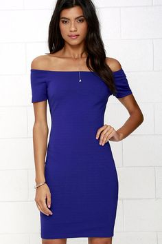 Me Oh My Royal Blue Off-the-Shoulder Bodycon Dress at Lulus.com!