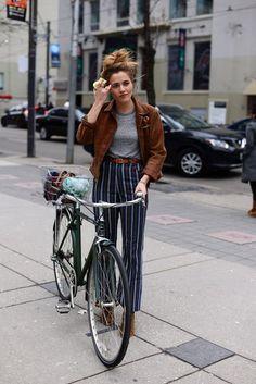 Straight pin stripe trousers, yum