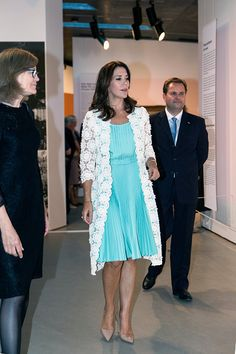 Royal Family Around the World: Danish Crown Princess Mary Visits Opening Of French Painter Monet Exhibition North Of Copenhagen at Ordrupgaard Museum in Charlottenlund in Denmark on August 23, 2016.