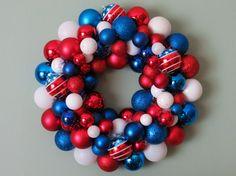 USA Red White Blue PATRIOTIC Ornament Wreath