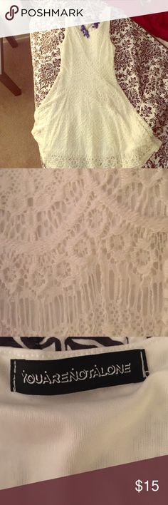 ❌CLEARANCE!!👗Pretty White Lace Skater Style Dress Like new! Worn once. Light and airy, perfect for summer. Size Medium. This has a built in liner so it's not see thru. You are not alone Dresses