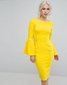 cf6c17e804 Club L Pencil Dress With Extreme Frill Sleeve