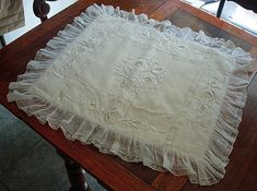 Em's Heart Antique Linens -Antique Embroidered Ruffled Lace Christening Baby Blanket