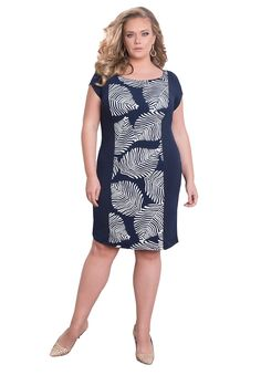 IGIGI Womens Plus Size Short Sleeve Knee-Length Sheath Cocktail Dress - Elle Fern 22/24. A flattering fitted sheath silhouette cocktail dress for work or a night around town. A beautiful printed overlay blocked center with the contrasting solid color on the side really enhances your curve appeal. Open boatneck neckline and a side zipper to slip in and out of this plus size dress with ease and comfort. A vintage inspired style, partially lined for comfort for the whole day and into the...