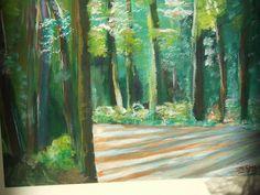 Acrylschilderij door E. W. Smid. Het betreft hier een oefenschilderij. Titel: Licht door het duistere bos. Materiaal: Acryl verf, gemaakt op papier van 300 gm.  Niet buitenhuis gemaakt maar vanaf een foto, met ...penselen .  Dit is een oefenschilderij om duidelijk de schaduwen en lichten naar voren te brengen. Het aantal werkuren was ongeveer 6 uren, steeds afwisselend gemaakt met pauze's tijdens de vakantie.Het hoofdaandeel kleur verf is uiteraard groen ...gemixt met wit... en…