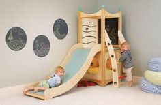 CedarWorks indoor play sets, climbers, and indoor slides can be custom-designed for your playroom or child's bedroom Toddler Playhouse, Kids Indoor Playhouse, Toddler Playroom, Build A Playhouse, Playhouse Ideas, Montessori Playroom, Wooden Playhouse, Montessori Toddler, Indoor Playset