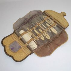 Vintage Manicure Set Vanity Case 1920s Art Nouveau by 4dollsintime, $65.00
