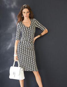 Kleid mit Seide in der Farbe schwarz / weiß - weiß, schwarz - im MADELEINE Mode Onlineshop
