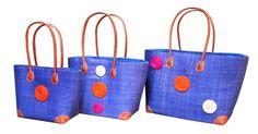 Beautiful sky blue Hanta Swirl straw baskets with raffia discs - www.violetagnes.co.uk