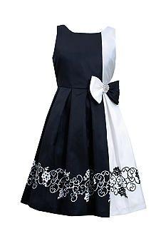 Bonnie Jean� Colorblock Scroll Print Dress Girls 7-16