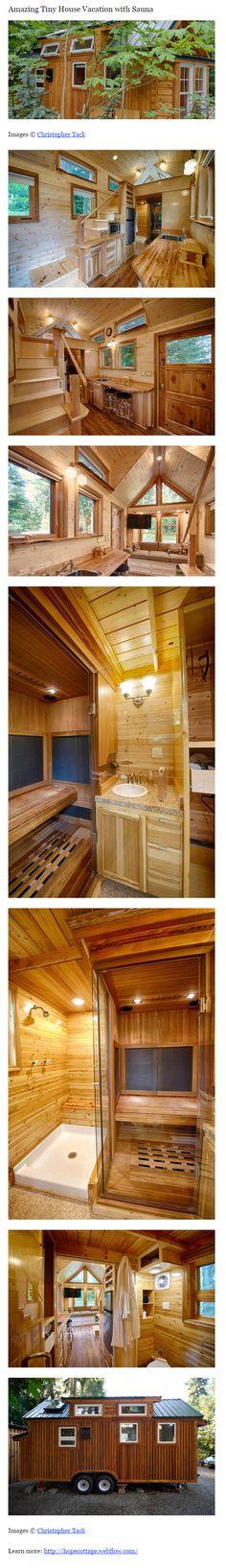 Amazing Tiny House with a sauna. Tiny House On Wheels, Small House Plans, Micro House, Tiny House Movement, Tiny Spaces, Tiny House Living, Tiny House Design, Little Houses, Tiny Homes