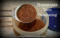 Homemade Taco Seasoning.  Have you ever gone to make tacos for dinner and realized you had run out of taco seasoning?  This simple recipe will elliminate all that frustration and save you money, by just mixing up some of your most common spices from your spice rack!
