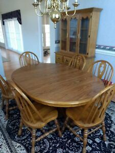 Cochrane Dining Room Furniture Details About Oak Dinning Set Pedestal Six Chairs W Lighted Cabinet