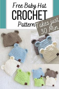 Crochet Baby Hats Free Pattern, Crochet Hats For Boys, Easy Crochet Hat, Baby Boy Crochet Blanket, Crochet Baby Hat Patterns, Free Crochet, Crocheted Baby Hats, Crochet Baby Stuff, Baby Knitting Patterns Free Newborn